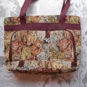 Bovano Large Cat Tapestry Bag